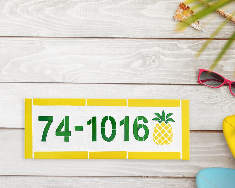 Mosaic House Number Plaque Outdoor House Number Beach Mailbox image 0