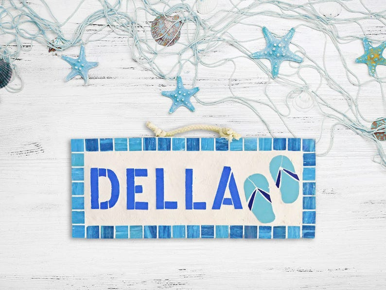 dd06505daf1a Custom Name Plaque Hanging for Beach House Turquoise Blue