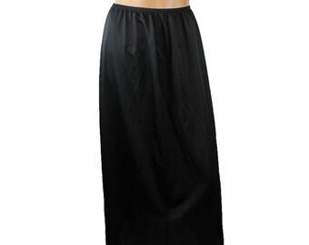 "Vintage Half Slip Sz L Vanity Fair 32"" Long Full Length Black Nylon Lace Trim Free US Shipping"