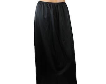 "Vintage Half Slip S M L Vanity Fair 34"" Long Full Length Black Nylon Lace Trim Free US Shipping"