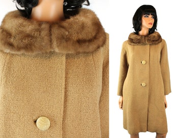 Vintage Winter Coat Sz XL 60s Brown Tan Wool Boucle Real Mink Fur Collar Topaz Free US Shipping