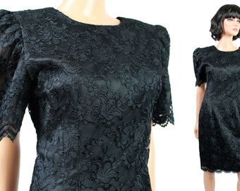 cceb830b994 80s Cocktail Dress XS Vintage Black Lace Satin Short Mini Prom Gown Plunge  Back Free US Shipping