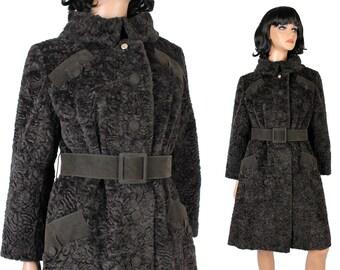 37f7c2a62c8 Vintage Princess Trench Coat Sz M Dark Brown Faux Persian Lamb Fur Winter  Jacket