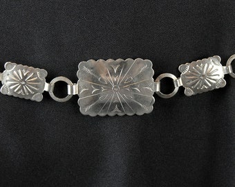 "Vintage Concho Belt 32"" Sz S M Silver Tone Etched Metal Southwestern Indian Free US Shipping"