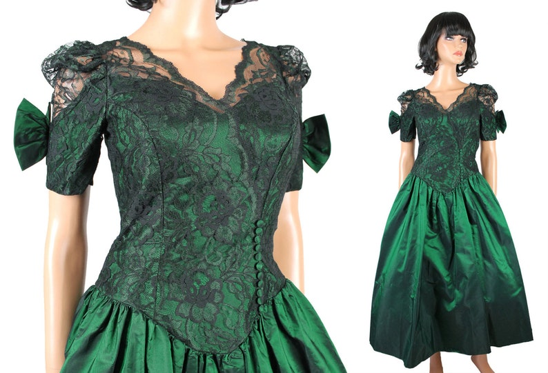 Vintage 80s Prom Dress XS Emerald Green Taffeta Black Lace  06e327821de5