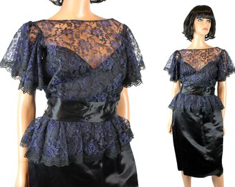 80s Prom Dress S M Vintage Black Blue Floral Lace Satin Cocktail Gown Gunne Sax Free US Shipping