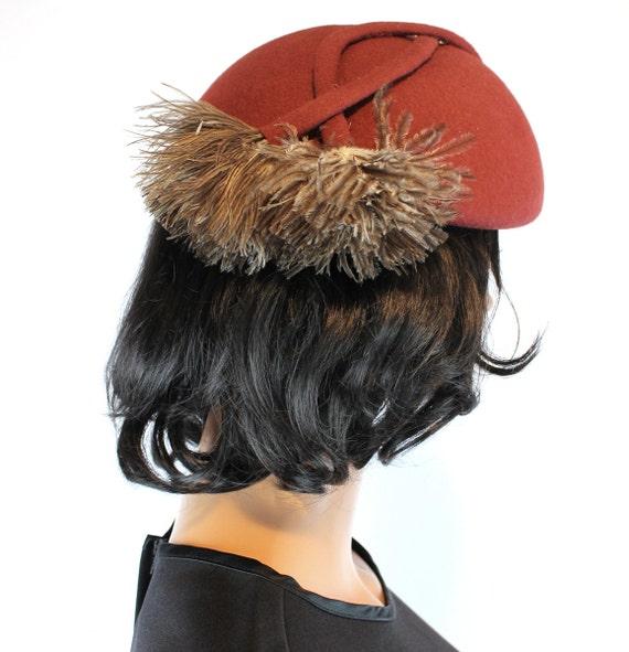 Vintage Calot Hat Sz L Rust Brown Wool Fawn Felt O
