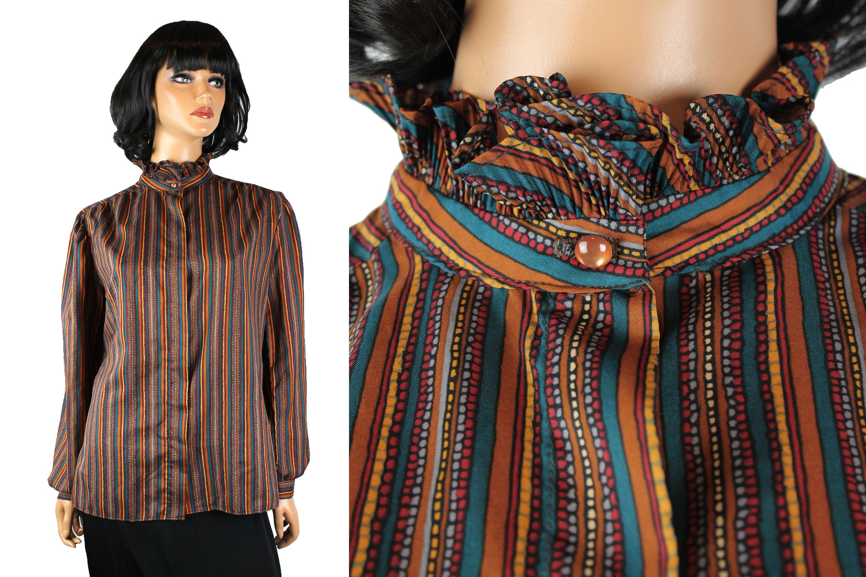 80s Dresses | Casual to Party Dresses Vintage Dress Shirt Sz 12 L Brown Red Blue Striped Ruffled Secretary Blouse $0.00 AT vintagedancer.com