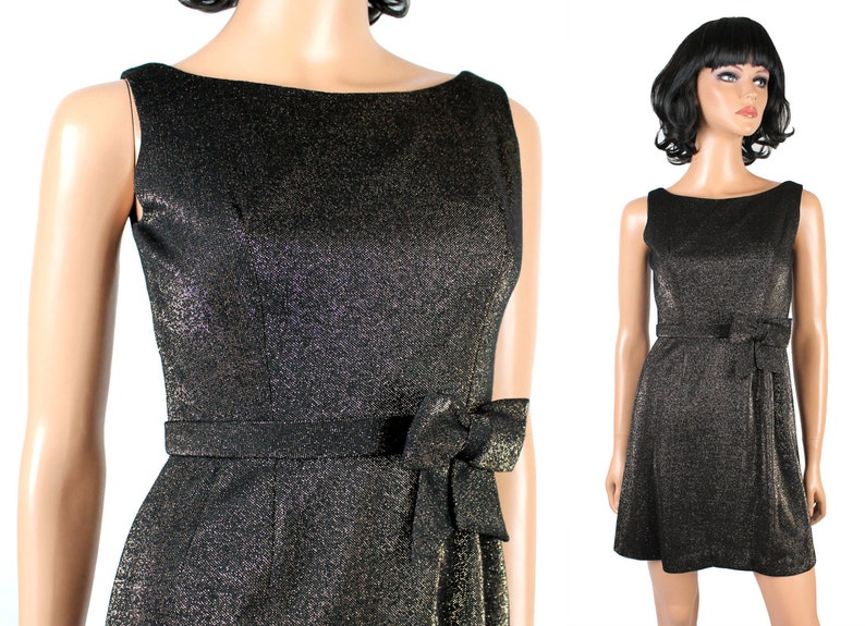 9bbde3f404b52 Vintage Cocktail Dress XXS Sleeveless Black Gold Sparkly Disco Costume 60s  70s Free US Shipping