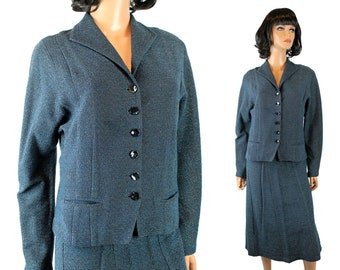 Vintage Skirt Suit Sz S 60s Dark Teal Blue Silver Wool Knit Blazer Jacket Set Free US Shipping