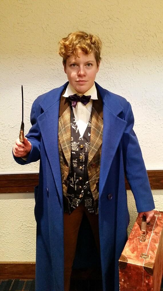 Newt Scamander Kostüm Mantel L Weinlese Frauen Blau Cosplay Crossplay Wolljacke frei US Versand