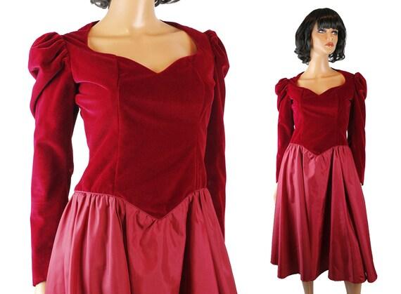 80s Prom Dress Sz S Vintage Dark Burgundy Red Velvet Velour Etsy