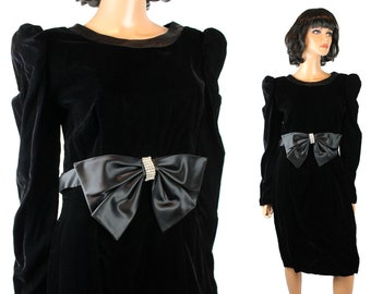 80s Prom Dress M 9 Black Velvet Satin Bow Long Sleeve Cocktail Gown Rhinestones Free US Shipping