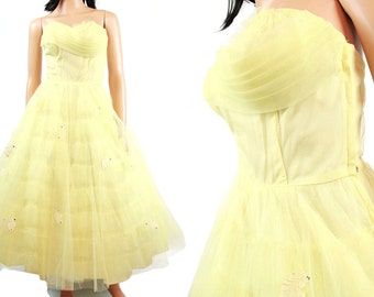 50s Strapless Prom Dress - Vintage Lemon Yellow Formal Wedding Gown Tiered Ruffled Tulle Netting Size XS FREE US Shipping