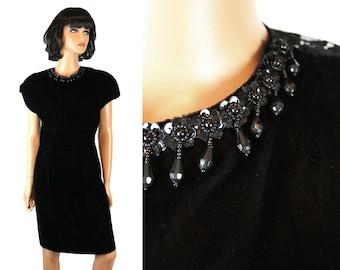 80s Prom Dress S 7 Black Velvet Sheer Lace Back Beaded Cocktail Gown Gunne Sax Free US Shipping