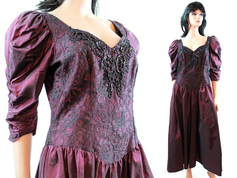 e2ad7e0000757 80s Prom Dress - Vintage Plum Purple Taffeta Black Lace Formal Gown Sequins  Beads Size M Medium FREE US Shipping