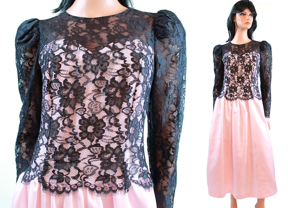 80s Prom Dress Vintage Black Pink Lace Bust Long Sleeve Etsy