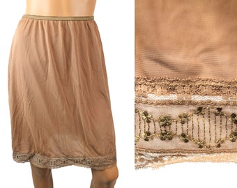 Vintage Half Slip S M L 50s Light Brown Nylon Embroidered Chiffon Hem Lorraine Free US Shipping
