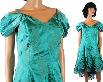 80s Prom Dress Sz M Vintage Teal Green Satin Brocade High Low Floral Gown Tulle Free US Shipping