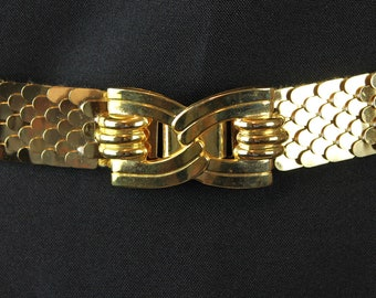 Metal Stretch Belt M L XL Vintage 80s Shiny Gold Snake Fish Scale Bow Buckle Free US Shipping