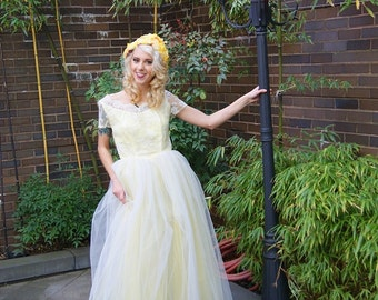 50s Prom Dress S Vintage Long Yellow White Tulle Floral Lace Party Wedding Gown Size Small FREE US Shipping