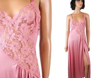 Val Mode Nightgown Sz M Sexy Vintage Mauve Pink Sleeveless Long Lace High Slit Free US Shipping