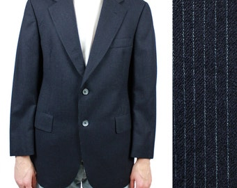 Christian Dior Pinstripe Blazer 38S Vintage 60s 70s Dark Midnight Blue Jacket 38 Free US Shipping