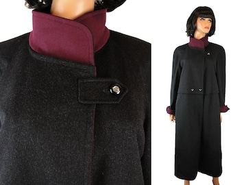 Vintage Trench Coat Sz M Hensel Mortensen Long Charcoal Gray Purple Wool Alpaca Free US Shipping