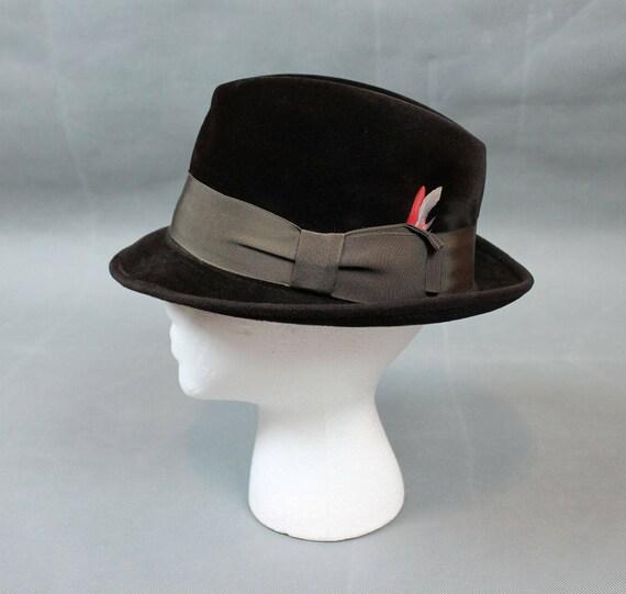 2db75e6285b Fur Felt Fedora 7 1 8 M Vintage 50s Stetson Dark Brown Hat Red