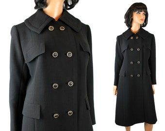 Vintage Trench Coat Sz M 70s Black Wool Long Winter Jacket Double Breasted Free US Shipping