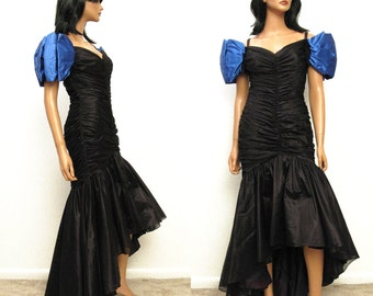 80s Mermaid Prom Dress - Vintage 1980s Long Black Chiffon Blue Satin Wiggle Formal Gown Costume XS