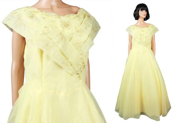 50s Prom Dress L XL Vintage Long Yellow Chiffon Go