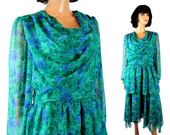 80s Cocktail Dress Sz M L 12 Vintage Long Blue Green Floral Chiffon Prom Gown Free US Shipping
