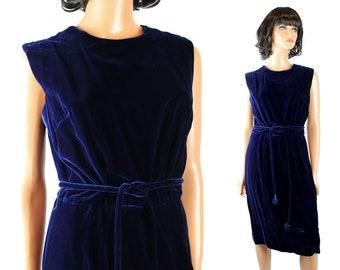 60s Cocktail Dress Sz M Vintage Dark Cobalt Blue Velvet Sleeveless Gown w/ Belt Free US Shipping
