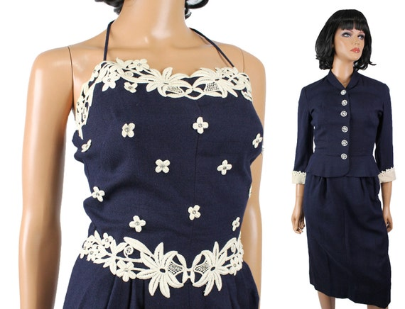 40s Dress Suit XS Vintage Carlye Navy Blue Gown &
