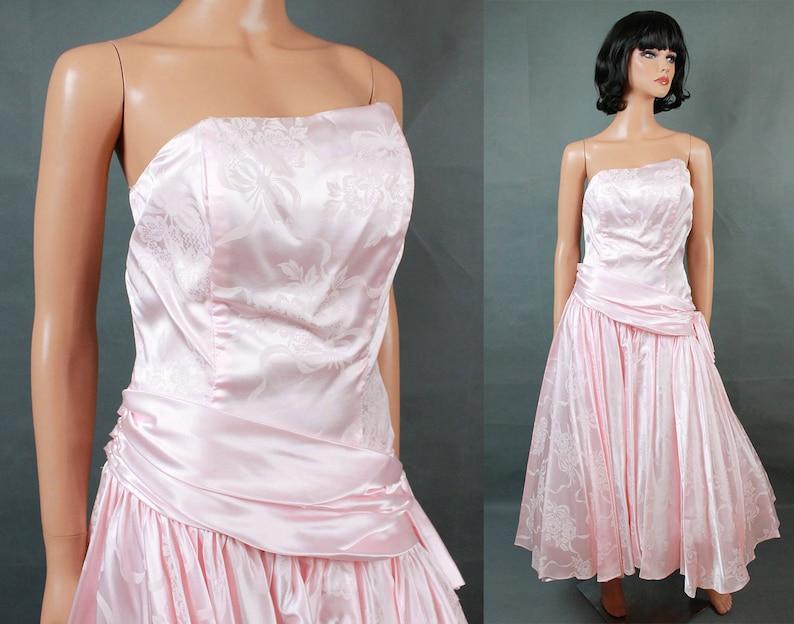 c450f5d2 80s Prom Dress Sz S Vintage Strapless Pink Floral Satin Long   Etsy