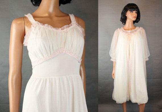 Vintage 50s Lingerie XS Laros Off White Pink Chiff