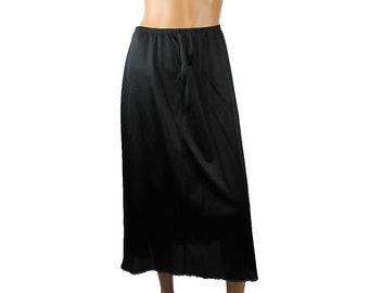 "Vintage Half Slip S M L Vanity Fair Full Length Black Nylon 32"" Long Lace Trim Free US Shipping"