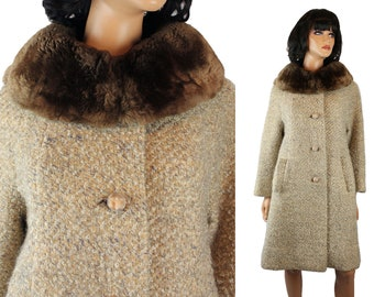 Winter Coat Sz M Vintage 60s Beige Wool Boucle Brown Sheared Beaver Fur Collar Free US Shipping