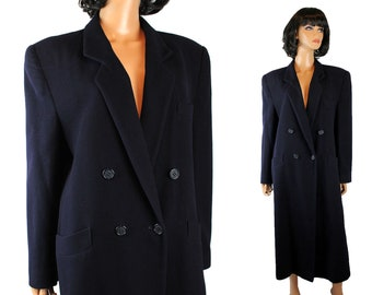 Winter Coat Sz L Vintage 100% Cashmere Dark Navy Midnight Blue Long Jacket Free US Shipping