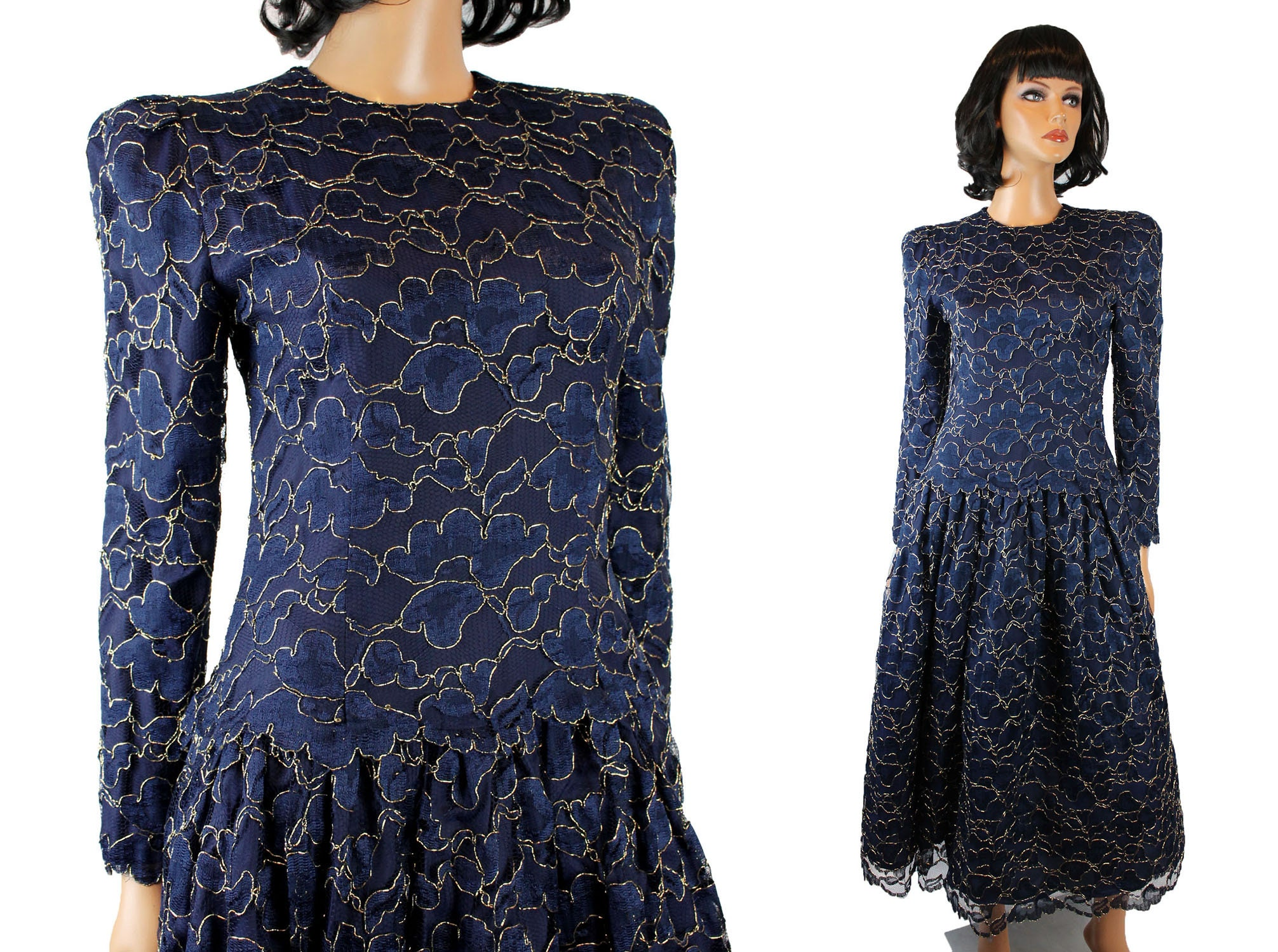 33a8854be5ecc 80s Prom Dress Sz S Vintage Talbots Dark Blue Gold Lace Cocktail Evening  Gown Free US Shipping