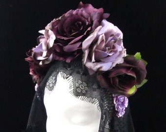 Burnt Purple Rose Headdress with Trailing Black Lace for Day of the Dead/Dia de los Muertos/Costume/Wedding