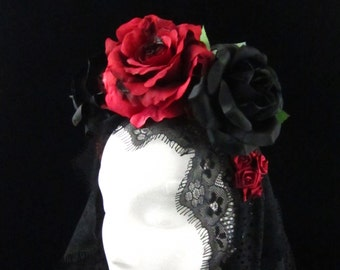 Burnt Red Rose Headdress with Trailing Black Lace for Day of the Dead/Dia de los Muertos/Costume/Wedding