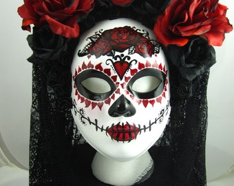 True Love Ways female mask with headdress, Day of the Dead/Dia de los Muertos/Halloween/Mardi Gras/Wedding