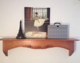 Large shelf, mantle shelf, large wooden shelf, dining room shelf, custom shelf, woodcraft, handmade, custom made, artisan, furniture.