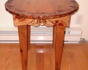 pine table, round end table,  coffee table