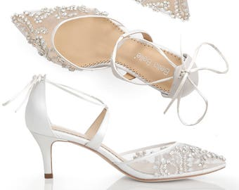 cf897a41c59 Low Heel Comfortable crystal embellished and beaded wedding shoes heels  with ankle straps Bella Belle Frances