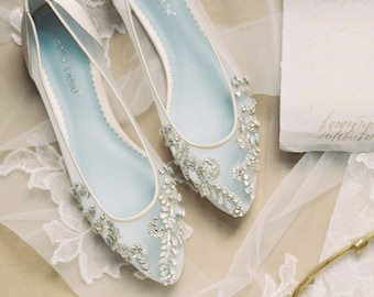 d8cd2332a131 Beautiful Wedding Flats with Opal and Crystal Beading Bridal Shoes - Glass  Slipper with  Something Blue  Bella Belle Willow