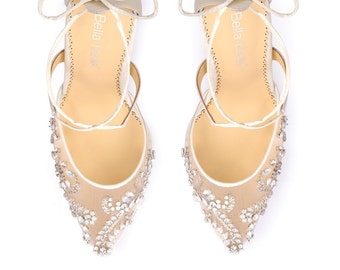 47a137f78dc Opal crystal embellished and beaded wedding shoes heels with ankle straps  Bella Belle Florence