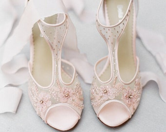 a39a8ac940ca20 Blush Nude Pink Illusion T Strap Beaded and Flower Embellished Wedding Shoes  Bridal Heels Bella Belle Paloma Blush